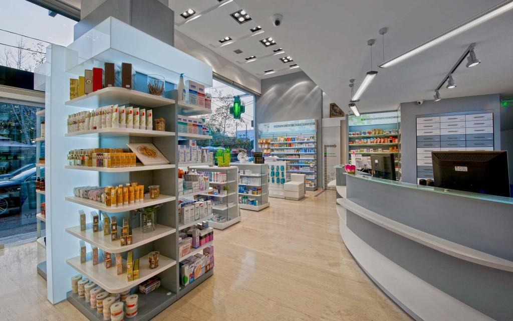 Φαρμακείο Παπαδοπούλου σχεδιασμός-μελέτη-κατασκευή-ανακαίνιση-εξοπλισμός φαρμακείου