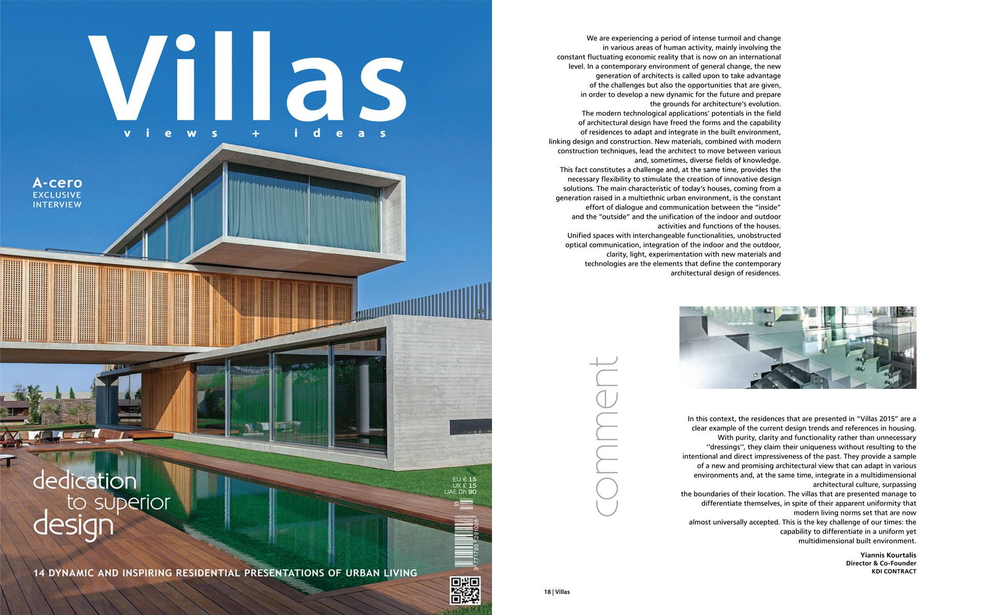 Editorial Yiannis Kourtalis VILLAS 2015 magazine - KDI CONTRACT