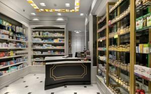 Φαρμακείο Μαραγκός-Στοά Νικολούδη ταμεία-συρταριέρα φαρμακείου-έπιπλα