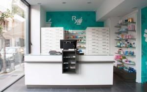 Φαρμακείο Ριζάς σχεδιασμός-μελέτη-κατασκευή-ανακαίνιση φαρμακείου